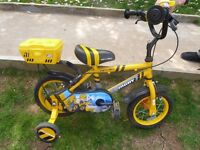 "Boys Apollo Digby JCB First Bike With Stabilisers - 9"" Wheel, 9"" Frame 2-5 Years"
