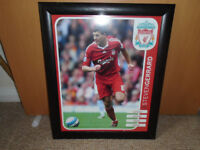 STEVEN GERRARD BLACK FRAMED ACTION PICTURE, SIZE 19 x 23, in GREAT CONDITION
