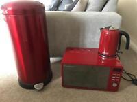 Red Microwave, Kettle & Bin