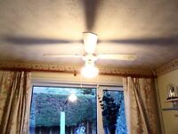 White (with Gold Detailing) Ceiling Fan with Light