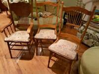 Vintage Retro Style Dining Chairs 3 Chairs One Carver Spindle High Back Bedside Table