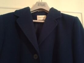 Ladies Blue Pure New Wool long sleeved winter Coat size 14