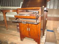 lovely old fashioned record player in wooden cabinet
