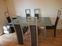 Glass dining table 6 chairs silver