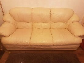 Cream leather sofa suite 3 seater +2 seater