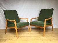 pair two Vintage 1960s Mid Century armchairs lounge easy chair green