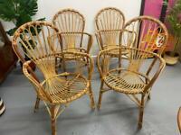 Beautiful Bamboo Cane Table and Chairs - Scandi Boho Franco Albini Style