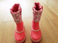 SOREL UK SIZE 1 WINTER SKI WELLINGTON SNOW BOOTS, FLEECE LINED THERMAL PINK BOOTS & FLEECE SOCKS