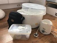 Steriliser, bottle warmer, manual pump and cooler bag