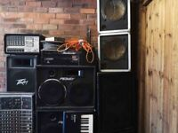PA System/various speakers power amp/stands etc