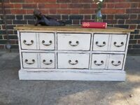 Rustic vintage coffee table/chest of drawers/media tv unit/ storage ottoman. shabby chic.