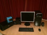 i7 desktop pc with monitor, speakers and printer