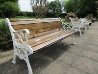 Vintage Garden Bench - Cast Iron Ends - New Wood - 5ft 3in/1.63m - Refurbished