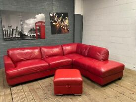 HARVEYS RED LEATHER CORNER SOFA AND FOOTSTOOL WITH STORAGE CAN DELIVER