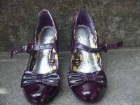Ladies purple patent Mary-Jane heels for sale
