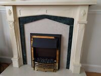 Electric fireplace with marble decorative base and back
