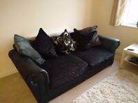 Black Fabric/Leather Sofa For Sale
