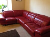 Red Leather DFS Modular Sofa