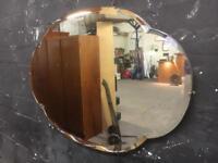 Fabulous large shaped bevel edge vintage mirror
