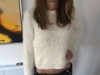 New Look Cream Fluffy Cropped Jumper Small