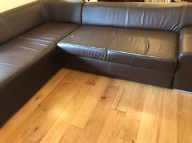 Corner Sofa Bed Dark Brown Faux leather - Sofa-bed - USED