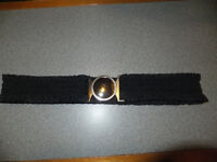 WOMENS / GIRLS - ELASTICATED BLACK TUNIC BELT WITH SILVER EFFECT BUCKLE