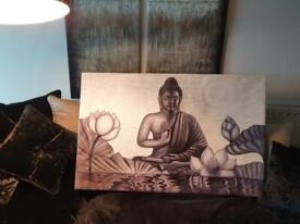 INCREDIBLE Buddha Meditation Handpainted Canvas Oil Painting Chanting Calming Buddhism Picture Decor