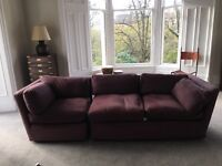 Fab aubergine sofa 2 pieces to make 3 seater, feather pads 2.7m x .95 wide x.80 high
