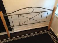"""Metal double bed frame with wooden posts (4'6"""")"""
