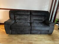 3 Seater Recliner Suede Sofa