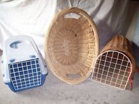 Two cat transporters and a cat basket
