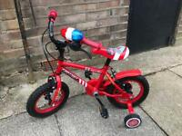 Children's firefighters bike with stabilisers