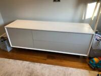 """TV Stand - John Lewis & Partners Dante TV Stand Sideboard for TVs up to 70"""", White/Taupe"""