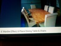 6ft Marble Effect, 6 Place Dining table & Chairs