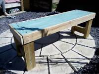 Handmade recycled wood bench