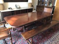 DINING TABLE SET, Sturdy Antique dining table with benches & chairs. CAN be painted / color matched