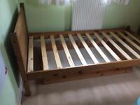 Single solid pine, oak stained single bed with wooden frame under bed drawer included for free