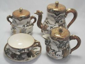 Decorative Antique Japanese Hand Painted Satsuma Tea Set. Kyoto Meiji Period. Very Good Condition