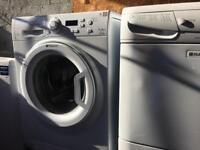 3x appliances hotpoint washer, hotpoint condenser dryer, Beko upright tall larder fridge £180