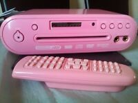 Pink DVD and karaoke disc player