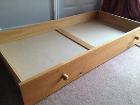 Pine under cot bed / toddler bed storage drawer with wheels