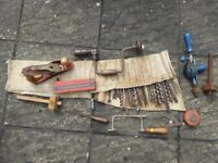 Vintage Carpentry Tools inc. Woodworking Brace, Hand Drill an Acorn Plane etc.