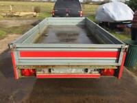 12ft dropside flatbed twin axel trailer