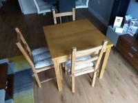 Table - light oak and 3 chairs