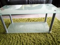 Glass double layer coffee table
