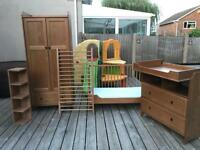 Complete nursery furniture- cot bed, wardrobe and chest of drawers plus shelf!