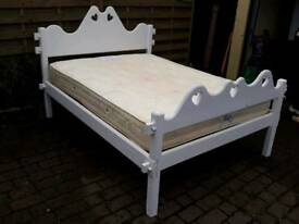 White wooden handmade king size bed frame with mattress. Delivery possible