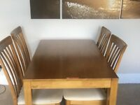 Dinerhill 4ft beech table with 4 chairs