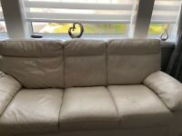 Cream 3 seater sofa 1 chair & footstool