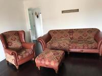 Classic Fabric & Leather Deep Seat Sofa Set
